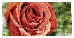 Peach Rose Hand Towel by Sennie Pierson