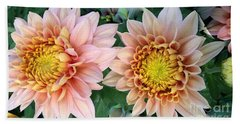 Peachy Chrysanthemums Hand Towel