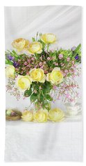 Peachy Yellow Roses And Lisianthus Bouquet Bath Towel