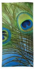 Peacock Candy Blue And Green Hand Towel by Mindy Sommers