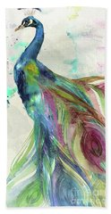 Peacock Dress Hand Towel by Mindy Sommers