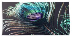 Peacock Feather In Sun Light Bath Towel by Angela Murdock