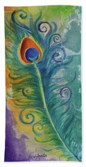 Peacock Feather Mural Bath Towel