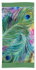 Peacock Feathers Bright Hand Towel