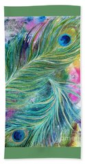 Peacock Feathers Bright Hand Towel by Denise Hoag