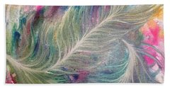 Peacock Feathers Pastel Hand Towel by Denise Hoag
