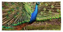 Peacock In Beacon Hill Park Hand Towel by Peggy Collins