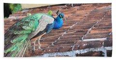 Peacock On Rooftop Bath Towel