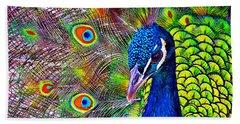 Peacock Portrait Hand Towel