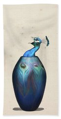 Peacock Vase Bath Towel by Keshava Shukla