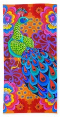Peacock With Flowers Bath Towel