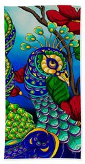 Peacock Zentangle Inspired Art Bath Towel