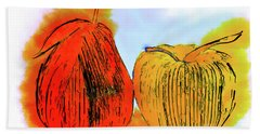 Pear And Apple Watercolor Hand Towel