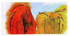 Pear And Apple Watercolor Bath Towel