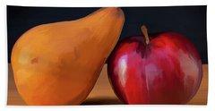 Pear And Plum 01 Bath Towel by Wally Hampton