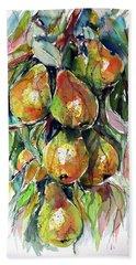 Hand Towel featuring the painting Pear by Kovacs Anna Brigitta