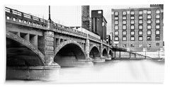 Pearl Street Bridge High Key Bath Towel by Evie Carrier