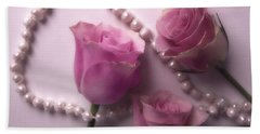 Pearls And Roses 2 Hand Towel
