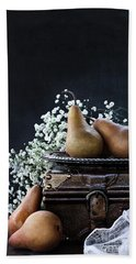 Bath Towel featuring the photograph Pears And Baby's Breath by Stephanie Frey