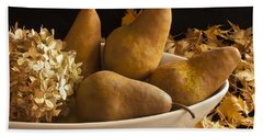 Pears And Hydrangea Still Life  Hand Towel by Sandra Foster