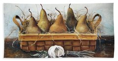 Hand Towel featuring the painting Pears by Mikhail Zarovny