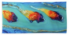Peces Dorados Bath Towel by Angel Ortiz