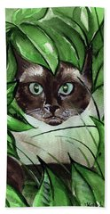 Hand Towel featuring the painting Peek A Boo Siamese Cat by Dora Hathazi Mendes