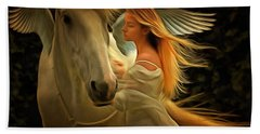 Bath Towel featuring the painting Pegasus Or Angel by Harry Warrick