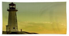 Peggys Cove Lighthouse At Sunset  Hand Towel by Ken Morris