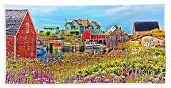 Peggy's Cove Wildflower Harbour Hand Towel by Kevin J McGraw
