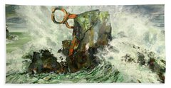 Hand Towel featuring the painting Peine Del Viento by Koro Arandia