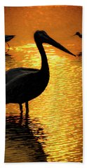 Hand Towel featuring the photograph Pelican And Avocets by Rob Graham