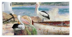 Hand Towel featuring the digital art  Pelican Cove by Trudi Simmonds