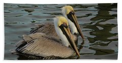 Hand Towel featuring the photograph Pelican Duo by Jean Noren
