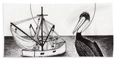 Hand Towel featuring the drawing Pelican Fishing Paradise C1 by Ricardos Creations