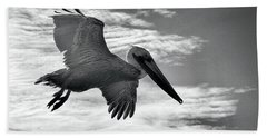 Pelican In Flight Hand Towel by AJ Schibig