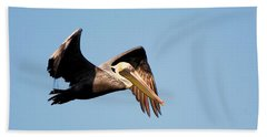 Pelican In Flight Hand Towel