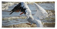 Bath Towel featuring the photograph Pelican Jump by Ray Congrove