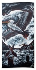 Pelican Moon Hand Towel by Scott and Dixie Wiley