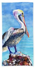 Pelican On A Post  Bath Towel