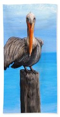 Pelican On Pier Bath Towel