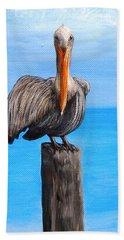 Pelican On Pier Bath Towel