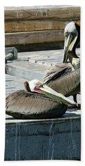 Pelican On The Dock Bath Towel