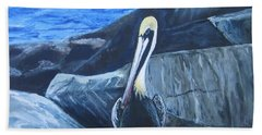 Pelican On The Rocks Hand Towel