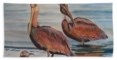 Hand Towel featuring the painting Pelican Party by Karen Ilari