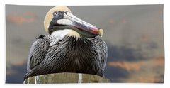 Pelican Perch Hand Towel by Betty Denise