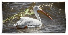 Pelican Profile Hand Towel by Ray Congrove