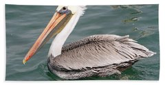 Bath Towel featuring the pyrography Pelican Profile by Shoal Hollingsworth