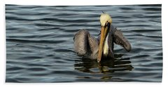 Hand Towel featuring the photograph Pelican Wing In A  Twist by Jean Noren