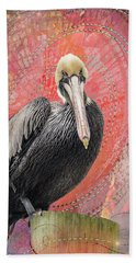 Pelican With Red Hand Towel